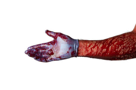 Bloody hand in medical gloves isolated on white background.