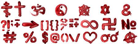 Popular symbols set isolated on white background.