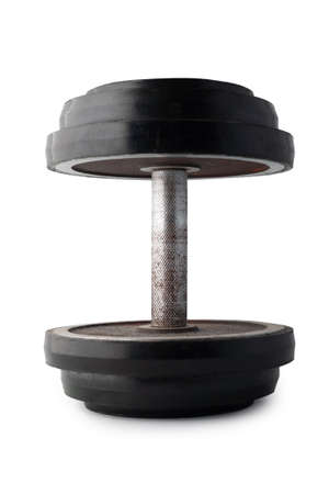 USSR black adjustable or collapsible dumbbell isolated on white background.
