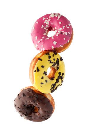 Donut levitation isolated on white background.