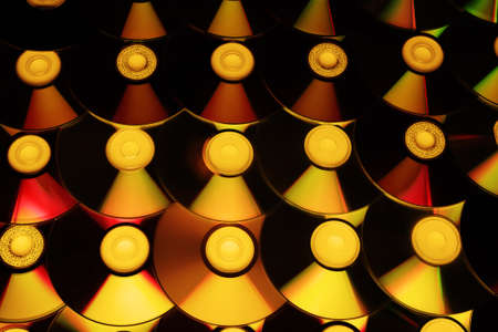 Ð¡d disc background. Compact disk collection decoration. Standard-Bild