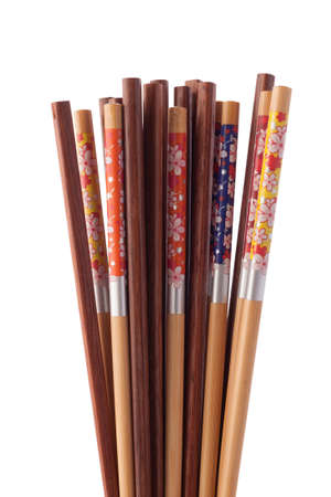 Collection set of many chopsticks isolated on white background.