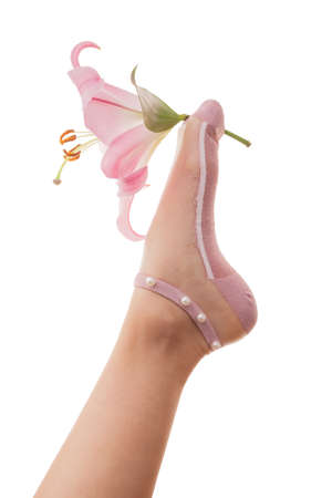 Foot in beautiful pink socks made of transparent bobbinet are hold a lily flower isolated on white background.