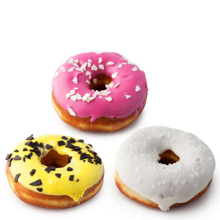 Set of assorted donuts side view isolated on white background.