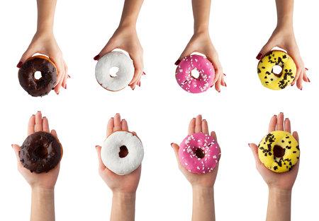 Set hand hold donut isolated on white background. Standard-Bild