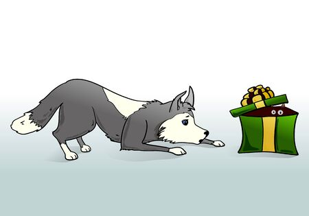 new year gray dog with present 2018 Vector illustration.