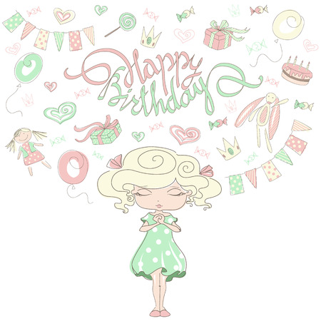 paraphernalia: Little girl dreams about a birthday party. Cute girl with lettering Happy Birthday card. Girl prays with eyes closed. Festive paraphernalia for child birth. Hand-drawn sketch style vector illustration