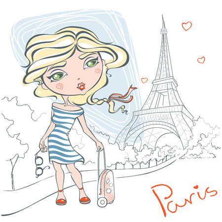 Cute girl with a suitcase on background of the Eiffel tower. A romantic trip to France Paris. Vector illustration in cartoon style. Cute girl art. European vacation. Girl with sunglasses and suitcase