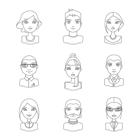 Linear style people icon set. Modern men and women in outline style, different characters and personalities. People userpics icons. Linear vector people avatar. Vector illustration in outline style.
