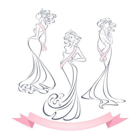 beauty contest: Linear style silhouettes of beautiful girls in evening dresses with premium ribbons isolated on white background. The winner of the beauty contest. Beauty queen. Vector illustration in outline style.