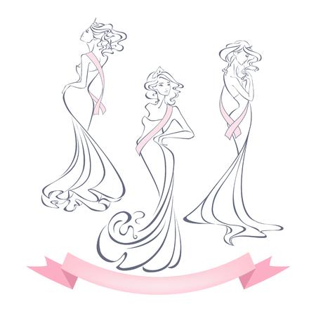silhouettes de style linéaire de belles filles en robes de soirée avec prime rubans isolé sur fond blanc. Le gagnant du concours de beauté. Reine de beauté. Vector illustration dans les grandes lignes de style.