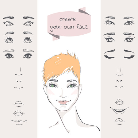 Create your own face. The set of elements of a womans face: eyes, eyebrows, noses, lips. Beautiful young woman with short red hair. Hand-drawn vector illustration. Female Avatar, userpic, art.