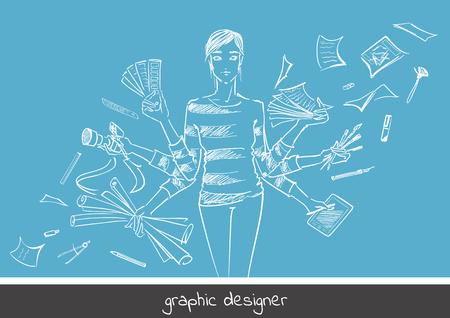 Jong meisje grafisch ontwerper met werkinstrumenten. Hand-drawn schets stijl concept van het beroep grafisch ontwerper. Vector illustratie van de fotografie, de vrije hand tekenen, kleuren selecteren, digitale tekening.