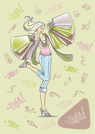 Happy girl with shopping bags in hands at the sale of cosmetics and perfumes. Background from hand-drawn cosmetics and inscriptions sale. Cute blonde laughs. Vector illustration in cartoon style.