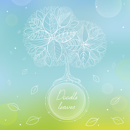 White doodle circle frame with hand drawing tree and leaves on blurred background. Hand-drawn vector illustration. Card with eco tree and falling leaves. Illustration