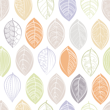 A seamless pattern with doodle leaves. Textile print. Set of doodle  leaves isolated on white. Spring  pattern  in doodle style. Vector illustration isolated on white background in pastel colors Ilustração