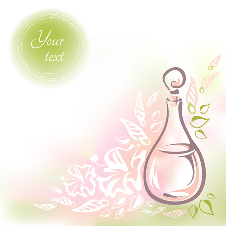 Card with glass bottle flower oil, flowers, buds and leaves and round frame for the text. Vector hand-drawn illustration. Bottle with rose oil and a glass stopper in pastel colors