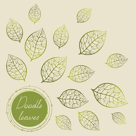 Green doodle circle frame with hand drawing leaves in beige background. Hand-drawn vector illustration in doodle style. Card with flying leaves and text.