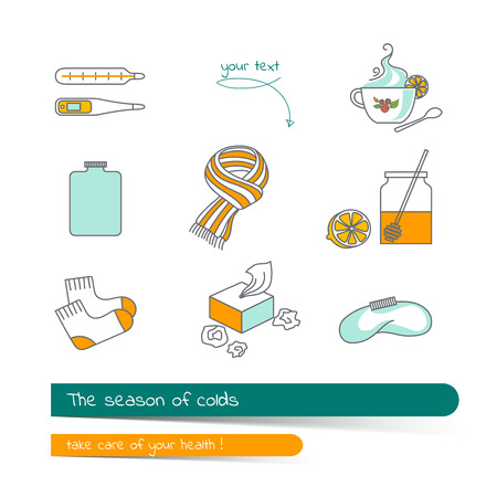 Flat line icon set on the subject of season colds. The card on the medical theme, contains banner for text with a shadow and a hand-drawn arrow with the text.Vector illustration in outline style.