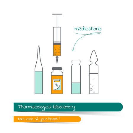 Flat line icon set of medical bottle and syringe. The card on the medical theme, contains banner for text with a shadow and a hand-drawn arrow with the text.Vector illustration in outline style.