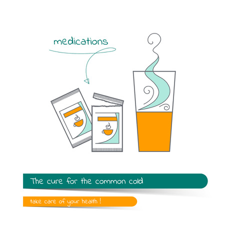 Flat line illustration on the subject of the treatment of colds. The card on the medical theme, contains banner for text with a shadow and a hand-drawn arrow with the text.Vector illustration in outline style.