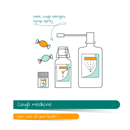 Flat line icon set of cough remedies. The card on the medical theme, contains banner for text with a shadow and a hand-drawn arrow with the text.Vector illustration in outline style.