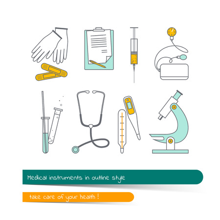 medical instruments: Flat line icon set of medical instruments. The card on the medical theme, contains banner for text with a shadow and a hand-drawn arrow with the text.Vector illustration in outline style.