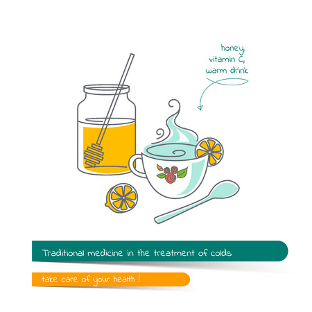 colds: Flat line illustration on the subject of traditional medicine in the treatment of colds. The card on the medical theme, contains banner for text with a shadow and a hand-drawn arrow with the text.Vector illustration in outline style. Illustration