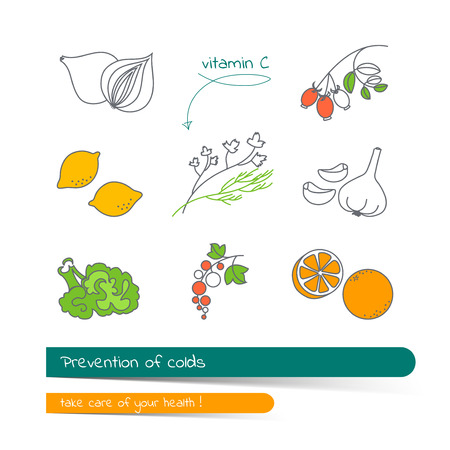colds: Flat line icon set of products containing vitamin C. Prevention of colds. The card on the medical theme, contains banner for text with a shadow and a hand-drawn arrow with the text.Vector illustration in outline style.