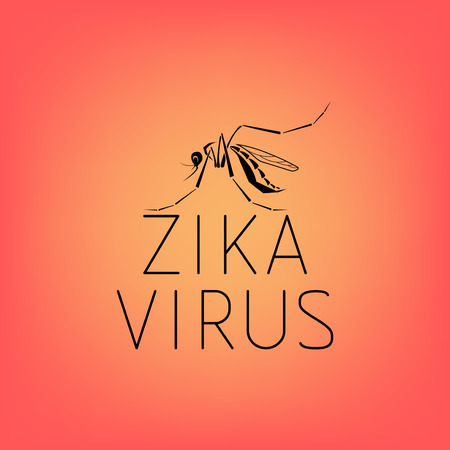 Abstract silhouette of a mosquito with text virus Zika Isolated on red background. Stylized mosquito. Mosquito graffiti Zika virus. Carrier of the Zika virus. Line icon of virus Zika.