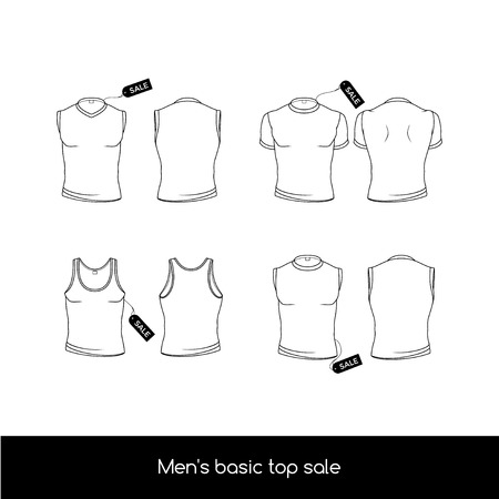Men's top underwear. Basic types of the top men's underwear with sale tags. Men's sleeveless, T-shirt and tank top.