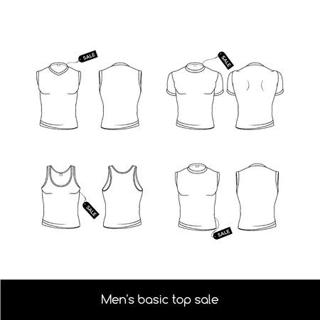 男性の下着。販売タグ トップ メンズ下着の基本型。男性のノースリーブ、t シャツ、タンクトップ。  イラスト・ベクター素材