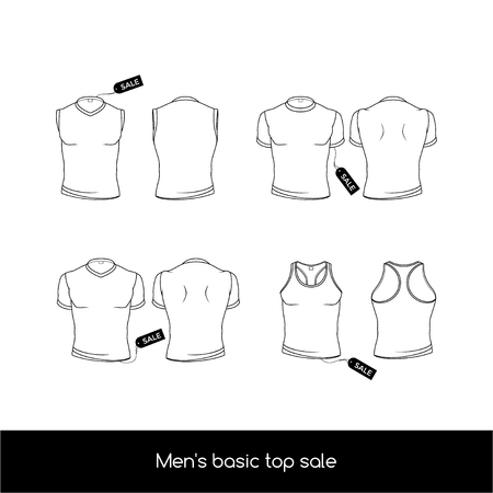 Mens top underwear with sale tags. Basic types of the top mens underwear. Mens sleeveless, T-shirt and tank top. Illustration
