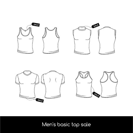 Types of men's top underwear. Basic types of the top men's underwear. Men's sleeveless, T-shirt and tank top with sale tags.