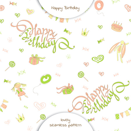 Seamless pattern happy birthday in doodle style. Lettering happy birthday on a background of festive flags, gifts, candy, toys and hearts.