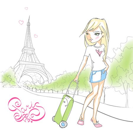 Cute girl with a suitcase on background of the Eiffel tower. Lettering Paris France. European vacation. Hand drawn illustration isolated on white background.