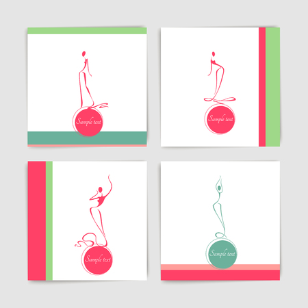 Collection of card with stylized silhouettes of dancing women in long evening dresses