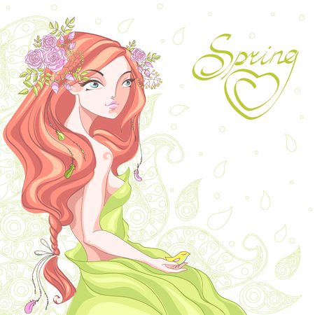 Cute girl with long curly hair braided in a braid and a wreath of flowers in her hair. A woman with a bird in the hand in boho style. Illustration