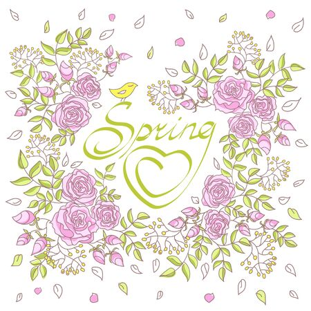 mimose: Carta con lettere decorato con rose e mimose. La molla iscrizione in una cornice di fiori e foglie con un uccello.