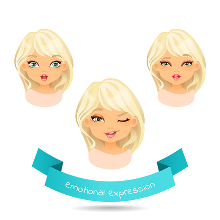Blue eyed blonde with different facial expressions. Set of different emotion: winks, laugh, licking lips. Cartoon girl with different expressions of emotion.