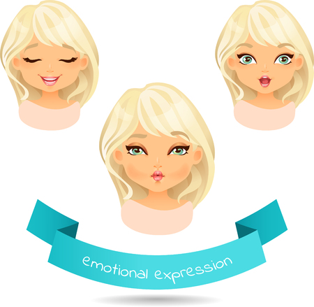 Cute blue eyed blonde with different facial expressions. Set of different emotion: smile, laugh, surprise. Cartoon girl with different expressions of emotion.