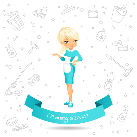 Banner with a %u0441ute cartoon  girl in dress and apron on the background of Doodle products for cleaning. Banner with the inscription on the ribbon Cleaning service.