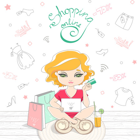 Cartoon cute girl shopping on-line on the background of the Doodle clothes. Girl sitting on rug with laptop and holding credit card. On a wooden floor are shopping bags and a soda. Vector illustration