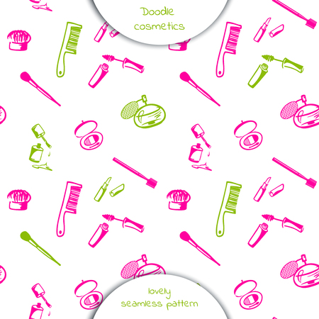 Seamless pattern of Doodle cosmetics: mascara, nail Polish, lipstick, comb, brush, perfume. Decorative cosmetics set. Hand drawn vector illustration isolated on white background.