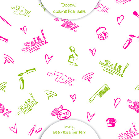 Seamless pattern of Doodle cosmetics: mascara, nail Polish, lipstick, comb, brush, perfume,  with the words sale and discount percentage. Hand drawn vector illustration isolated on white background.