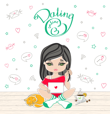 Cartoon cute girl dating on-line with lettering dating on-line. Girl sitting on wooden floor with laptop. On a floor are sleeping red cat and a Cup of tea, lemon and chocolate. Vector illustration Illustration