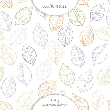 seamless pattern of  hand drawing  leaves in white background. Vector illustration.