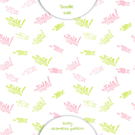 Seamless pattern  with the words sale and discount percentage in Doodle style. Hand drawn vector illustration isolated on white background. Ilustração