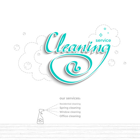 Modern banner design for cleaning services. The lettering with the soapy foam, white stroke and drop shadow. On the wooden floor sprayer and list of services. Vector illustration isolated on white Ilustração