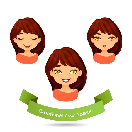 Cute brunette with different facial expressions. Set of different emotions of a girl: smile, joy, laugh. Cartoon girl with different expressions of emotion. Vector illustration isolate on white